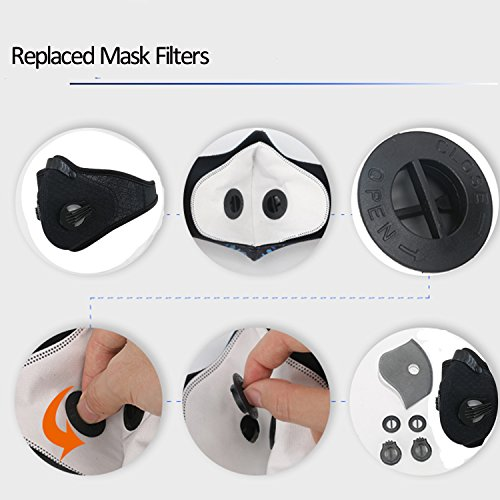 Dustproof Mask - Activated Carbon Dust Masks - with Extra Filter Cotton Sheet and Valves for Exhaust Gas, Anti Pollen Allergy, PM2.5, Running, Cycling, Outdoor Activities (2 Pack Black+Blue, Type 1) by Infityle (Image #3)