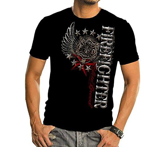 Firefighter T-Shirt Elite Breed Firefighter Pride Duty Honor Silver Foil Black