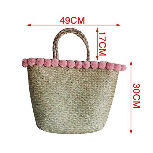 en sac de bandoulière de paille bambou Sac yunt les sac tissé demi tout sac fourre sac femmes à main pour voyage lune fourre plage de de tout bandoulière OZZw6EfqP