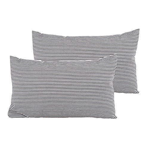 Shamrockers Farmhouse Striped Lumbar Throw Pillow Cover Decorative Cotton Linen Ticking Pillowcase(12