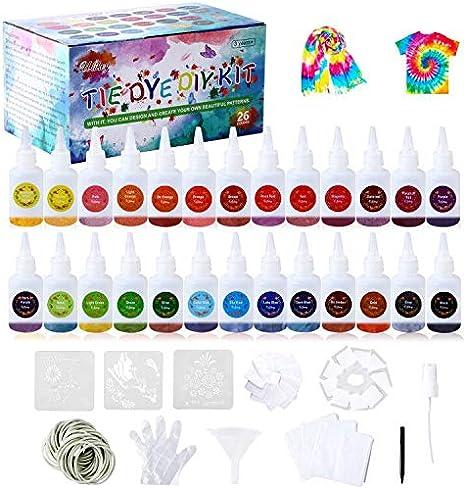 Ulikey 26 Colores Tie Dye DIY Kit, Pinturas Textiles de Tela, Permanentes Conjunto de Tinte Tie Tie de un Solo Paso Camisa Tela Tinte Duministros No ...