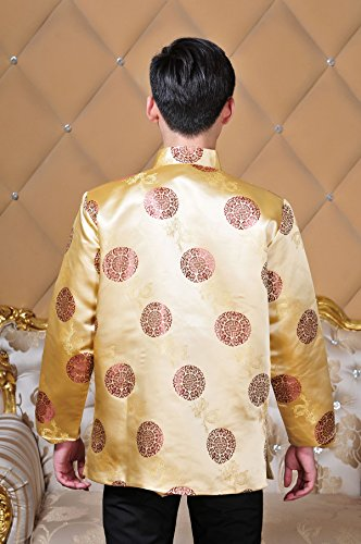 XueXian(TM) Men's Long Sleeve Chinese Style Qipao New Year Outfit Tang Suit (China XXL:Bust 48.81'',Yellow) by XueXian(TM) (Image #3)