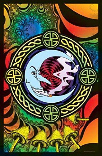 Reefer Moon-Weed-Marijuana, College Blacklight Poster Print, 23 by 35-Inch (Mushroom Magic Blacklight Poster)