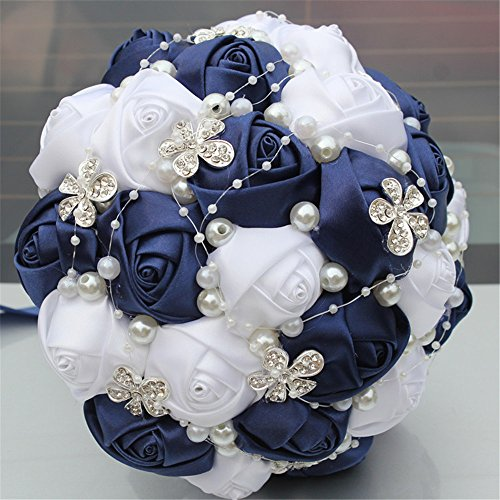 Flower Choose Color (Advanced Customization Romantic Bride Wedding Holding Bouquet Roses with Diamond Pearl Ribbon Valentine's Day Bouquet Confession Many Colors for Choose 18cm (Navy Blue+White))