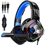 Salandens Auriculares para Juegos Audífonos Gamer con Micrófono para PS4 Xbox One PC, Diadema Auriculares Alámbrico Estéreo p