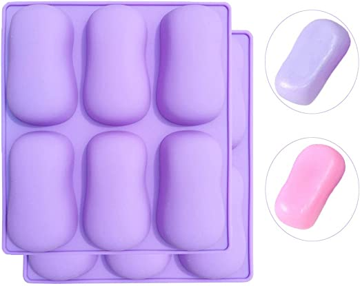Soap Making Molds Ergonomic Curved Oval Silicone 2 Pack