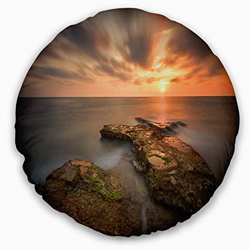 Designart CU9460-20-20-C Sunset at Atlantic Coast Spain' Seascape Photography Throw Cushion Pillow Cover for Living Room, Sofa, 20'' Round by Designart