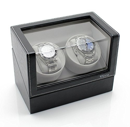 Versa Elite Double Watch Winder in Black Leather