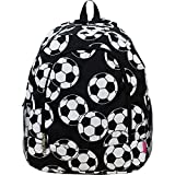 Soccer Ball Print Canvas School Backpack