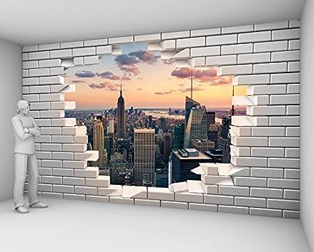 Papier Peint Trompe L Oeil Mur De Briques Casse Avec Vue Sur New