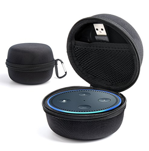 Echo Dot Protective Case , Travel Carrying Case with Screw Lock Carabiner EVA Upscale Fabric Portable Hard Box Cover Bag for Echo Dot(2nd Generation), fits USB Cable and Wall Charger (Silver Gray)