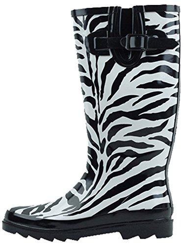 SBC Women's Rain Boots Adjustable Buckle Fashion Mid Calf Wellies Rubber Knee High Snow Multiple Styles (11 B(M) US, ()