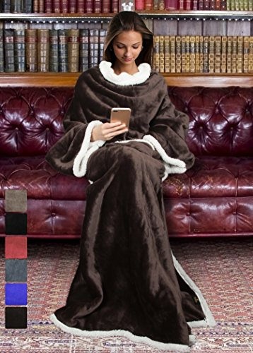 Sherpa Blanket with Sleeves for Women and Men, Super Soft Mink Fleece Wearable Adult Comfy Throw Robe TV Blanket 72