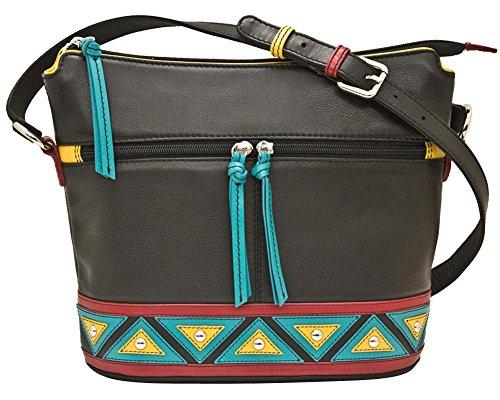 RFID Handbag Crossbody Zip with Leather Lining 6862 ili Black Hobo EnwZXfB0xq