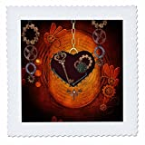 3dRose Heike Köhnen Design Steampunk - Beautiful steampunk heart clocks and gears - 22x22 inch quilt square (qs_262376_9)