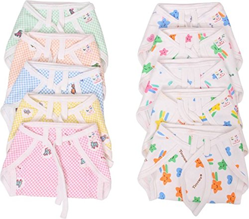 Vadmans Baby Nappy Checks   Printed Soft Nappy, Pack of 10  Multi Color   Large