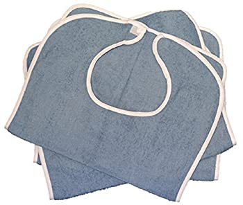 3pk Terry Adult Bib, Blue