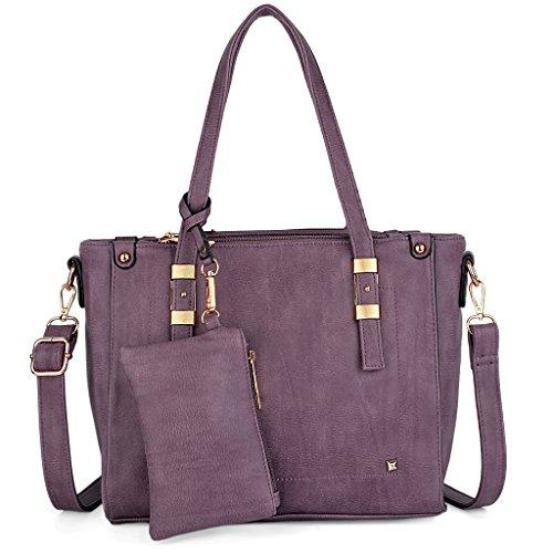 UTO Women Handbag Set 2 Pieces Bag PU Leather Tote Shoulder Purse Bags Wallet Strap Purple