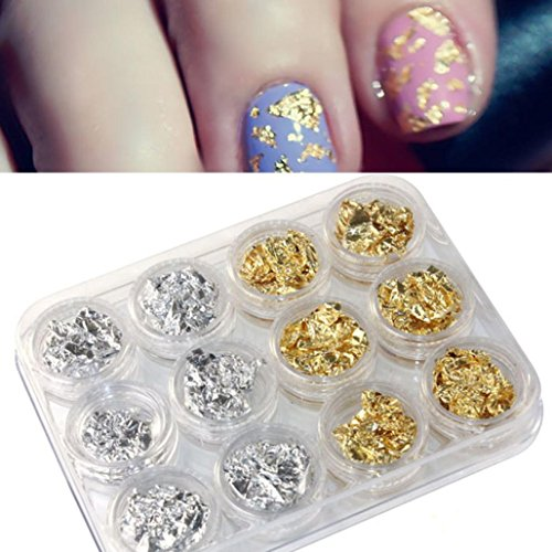 Price comparison product image Gotd Nail Art Gold Silver Paillette Flake Chip Foil DIY Acrylic UV Gel Pager 12 PCS