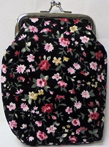 (2 Eclipse Floral Design Black Cloth Cigarette Case Fit 100's Size Cigarettes, Ball Clasp 3102FLBK-2)