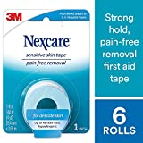 """Nexcare Sensitive Skin Tape, From the #1 Leader in U.S. Hospital Tapes, Pain Free Removal, Long Term Adhesion, 1"""" X 4 Yds, Pack of 6"""