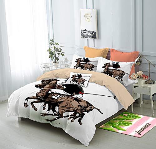 FAITOVE Polo Players 3 Piece Bedding Cover Sets 200cm x 230cm Duvet Cover Set 2 Pillow Case 100% Microfiber, Full Size