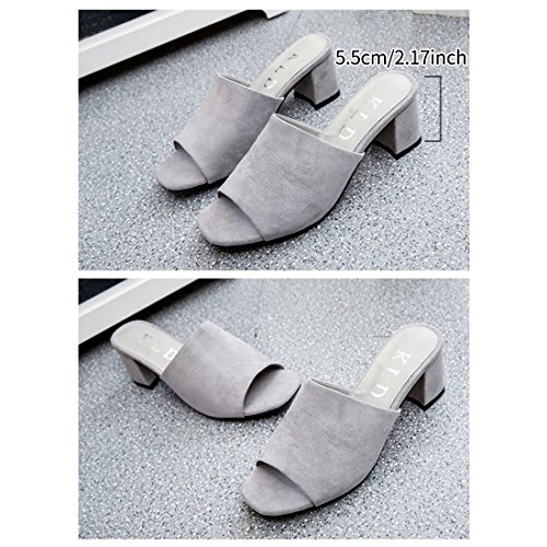 Toe Suede Open Grey Heel Sandals Slip On Trendy Shoes Women Chunky Jiyaru Slide UqfzBf