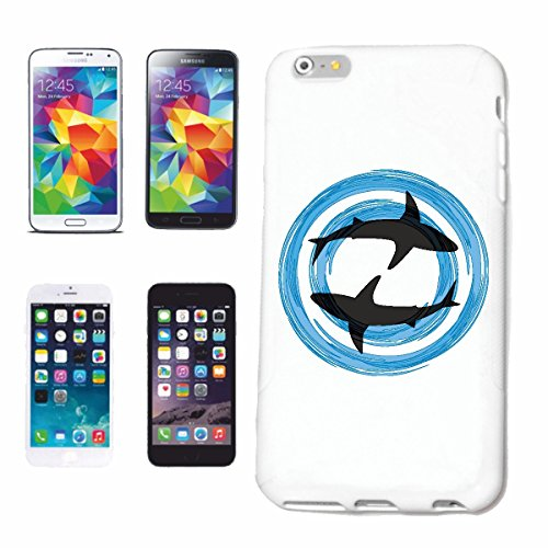 """cas de téléphone iPhone 7 """"DEUX WHITE REQUINS SILHOUETTE Megalodon BLEU SHARK Hammerhai récif blacktip whalesharks requin mako"""" Hard Case Cover Téléphone Covers Smart Cover pour Apple iPhone en blanc"""