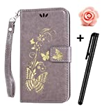 Samsung Galaxy J5 2016 Case,Samsung Galaxy J5 2016 Wallet Case,TOYYM Premium PU Leather Flip Case Magnetic Cover with Card slots and Stand for Samsung J510,Luxury Wallet Pouch with Gilding Gold Butterfly for Samsung galaxy J5 2016+Free Flower Dust Plug+Free Stylus,Gray