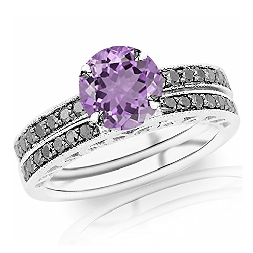 1.02 Carat t.w 14K White Gold Pave Set Black Diamond Engagement Ring and Wedding Band Set w/ a 0.75 Carat Round Cut Purple Amethyst Heirloom Quality