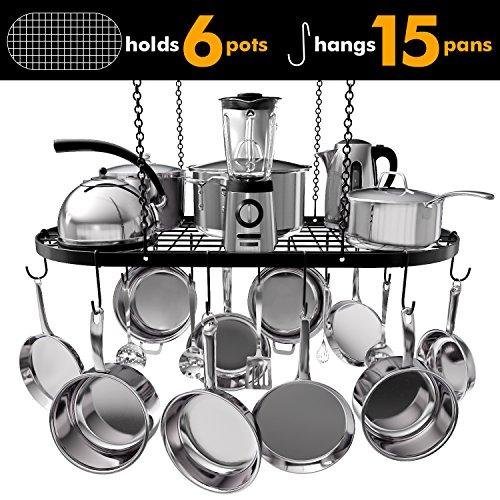 - VDOMUS Pot Rack Ceiling Mount Cookware Rack Hanging Hanger Organizer with Hooks (33 x 17 Inch)