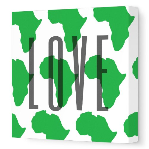 Avalisa Green - Avalisa Stretched Canvas Nursery Wall Art, Africa Love Pattern, Green, 12