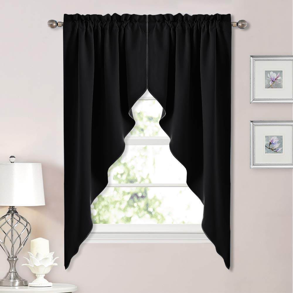 """NICETOWN Blackout Window Treatment Kitchen Tier Curtains- Tailored Scalloped Valance/Swags (2 Panels, 36"""" W X 63"""" L Each Panel, Black)"""