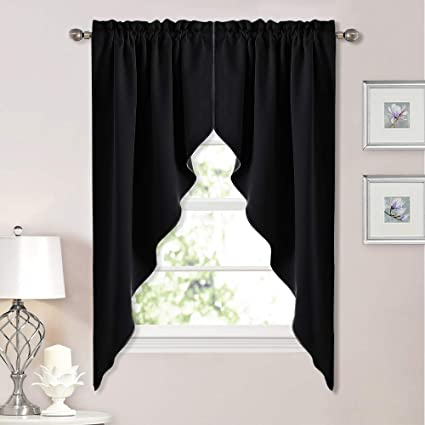 NICETOWN Blackout Window Treatment Kitchen Tier Curtains- Tailored  Scalloped Valance/Swags (2 Panels, 36 inches WX 63 inches L Each Panel,  Black)