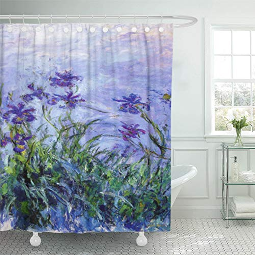 Semtomn Shower Curtain Iris Monet Lilac Irises Paintings Impressionist Flower 66