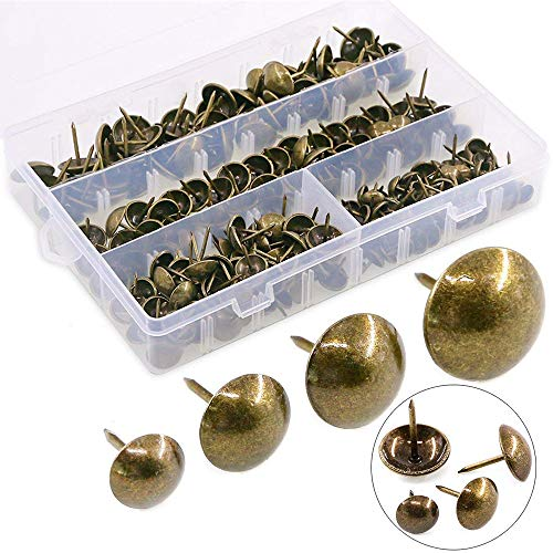 Hilitchi 280-Pieces [4-Size] Antique Brass Tacks Bronze Nail Pins Upholstery Nail Tacks Furniture Thumb Tack Pins Assortment Kit - Size Include: 7/16'' 9/16'' 5/8'' 3/4''
