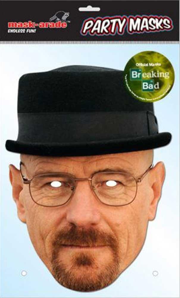 Breaking Bad - Heisenberg, Papp Maske, aus hochwertigem Glanzkarton mit Augenlöchern, Gummiband - Grösse ca. 30x21 cm