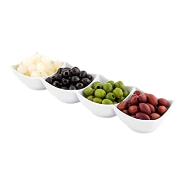 Porcelain Quadruple Bowl, Four Bowls, Bowl Set - Great for Snacks, Dips and More - White - 14.7 Inches - 24 Ounce - 1ct Box - Restaurantware