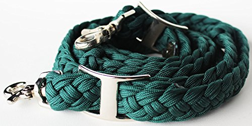 PRORIDER Roping Knotted Horse Tack Western Barrel Reins Nylon Braided Green 60727