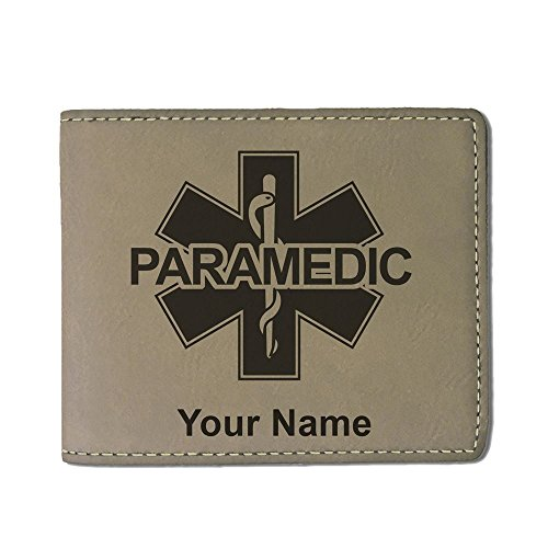 Faux Leather Wallet - Paramedic 2 - Personalized Engraving Included (Light Brown)