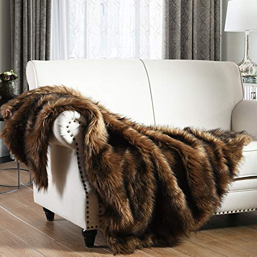 Luxury Plush Faux Fur Throw Blanket, Long Pile Camel Brown with Black Tipped Blanket, Super Warm, Fuzzy, Elegant, Fluffy Decoration Blanket Scarf for Sofa, Armchair, Couch and Bed, 60