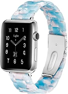 Light Apple Watch Band - Fashion Resin iWatch Band Bracelet Compatible with Copper Stainless Steel Buckle for Apple Watch Series SE Series 6 Series 5 Series 4 Series 3 Series 2 Series1 (Sky Blue, 38mm/40mm)