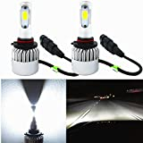 Alla Lighting 8000lm Xtremely Super Bright HIR2 9012 LED Headlight Bulbs COB Xenon White High Power Mini LED 9012 Headlight Bulb Conversion Kits Bulbs