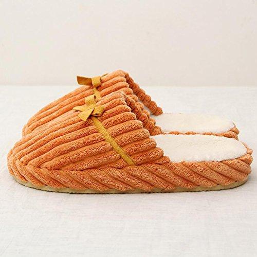 Baymate Unisex Gestreift Anti-Rutsch Haus Hausschuhe Slip-on Winter Pantoffeln Slippers Slippers Orange