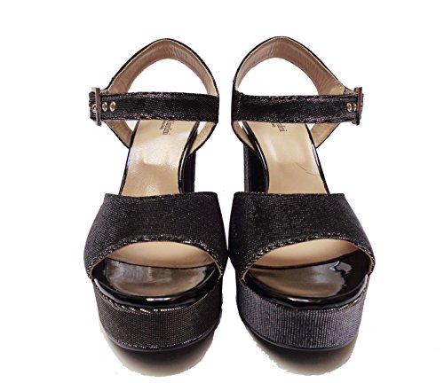 Nero Giardini 17861 sandali da donna in tessuto brillante Nero tacco cm. 11 plateau cm. 3, num. 38