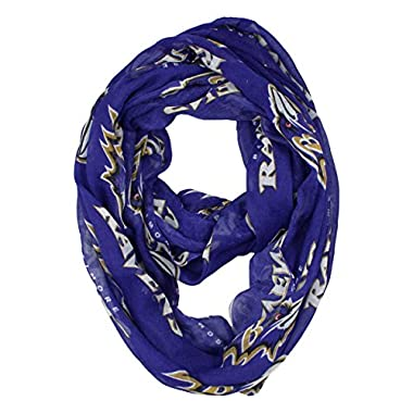 NFL Baltimore Ravens Sheer Infinity Scarf, One Size, Purple