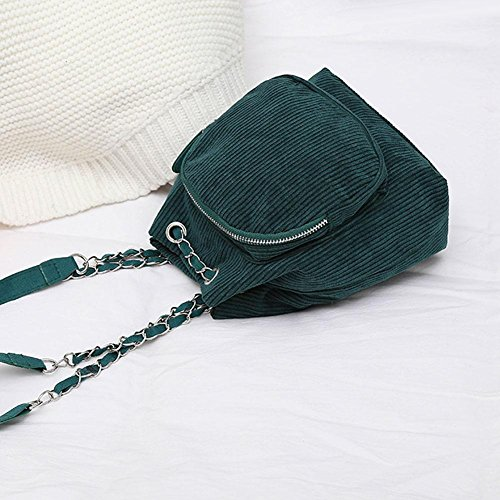 Women Lady Travel Corduroy Mini Girls Small Widewing Handbag Shoulder Chain Green Backpack wIAtxqU