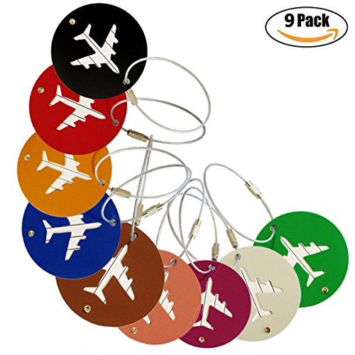 Travel Luggage Tags, Identifiers Labels For Baggage Suitcases Bags, Round Plane Metal Cruise Tag Set 9 Pack