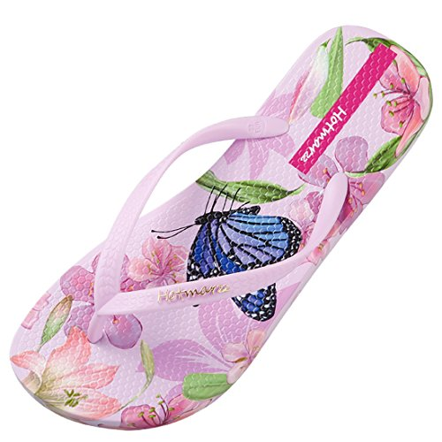 Flip Hotmarzz Floral Beach Summer Slippers Flop Butterfly Pink Women's Sandals qtRwxtB