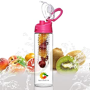 23 Oz Sport Water Bottle With Fruit Infuser And Carrying Handle,With Locking Flip Top Lid And Carrying Handle - BPA FREE - Made With Tritan Copolyester-- (Many Color Option) (Red)
